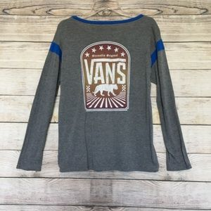 Gray Vans Logo long sleeve with blue